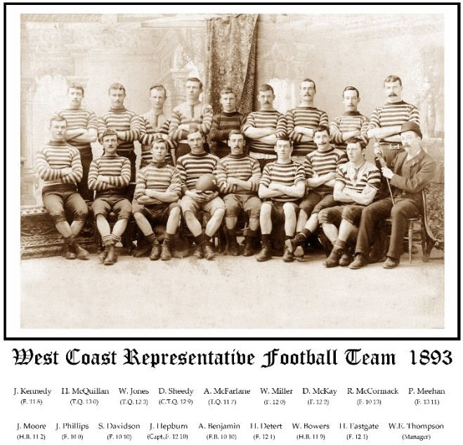 Team photo of the inaugural West Coast RFU Representative Team which played it's first ever matches in our unions history in September 1893. The side travelled on the SS Mawhera to Nelson, where they drew with Nelson 0-0, before travelling to Blenheim to play Marlborough where they lost 2-5.